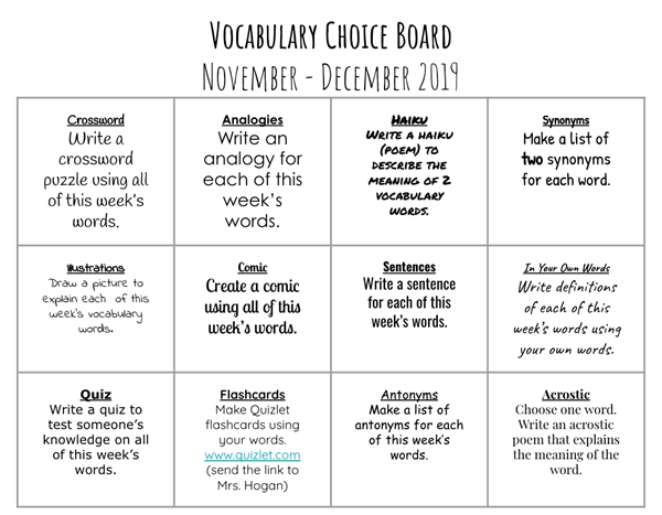 November - December Vocabulary Choice Board